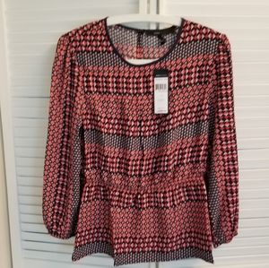 BCBGMAXAZRIA Womens Red Navy Print Top